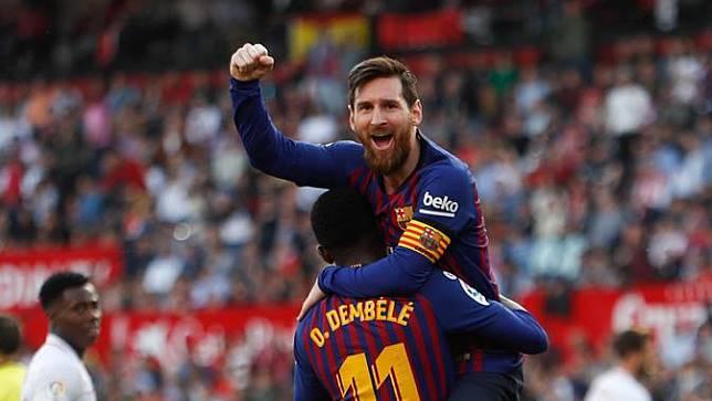 Selebrasi Lionel Messi Saat Cetak Hattrick ke Gawang Sevilla