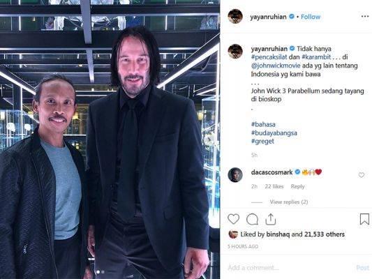 Yayan Ruhiyan bersama Keanu Reeves