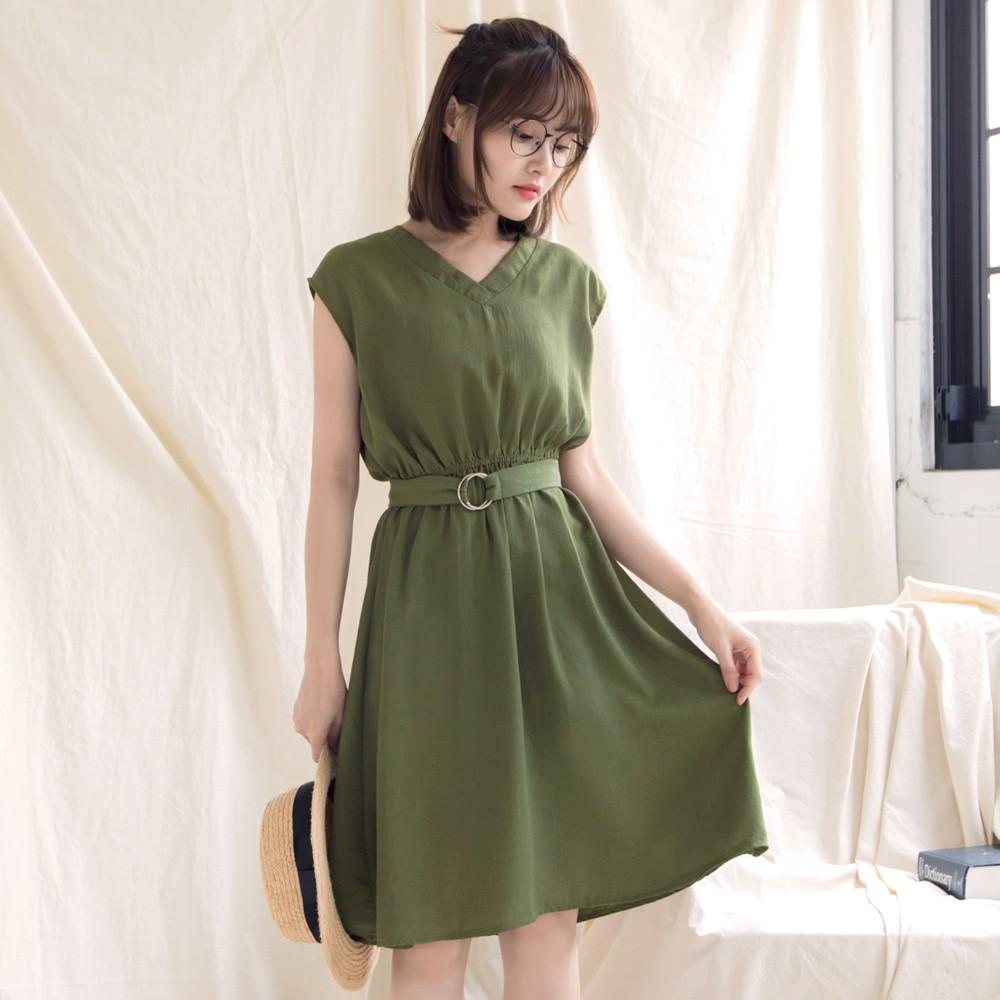 東京著衣-多色修身百搭V領洋裝-S/ M(180791)