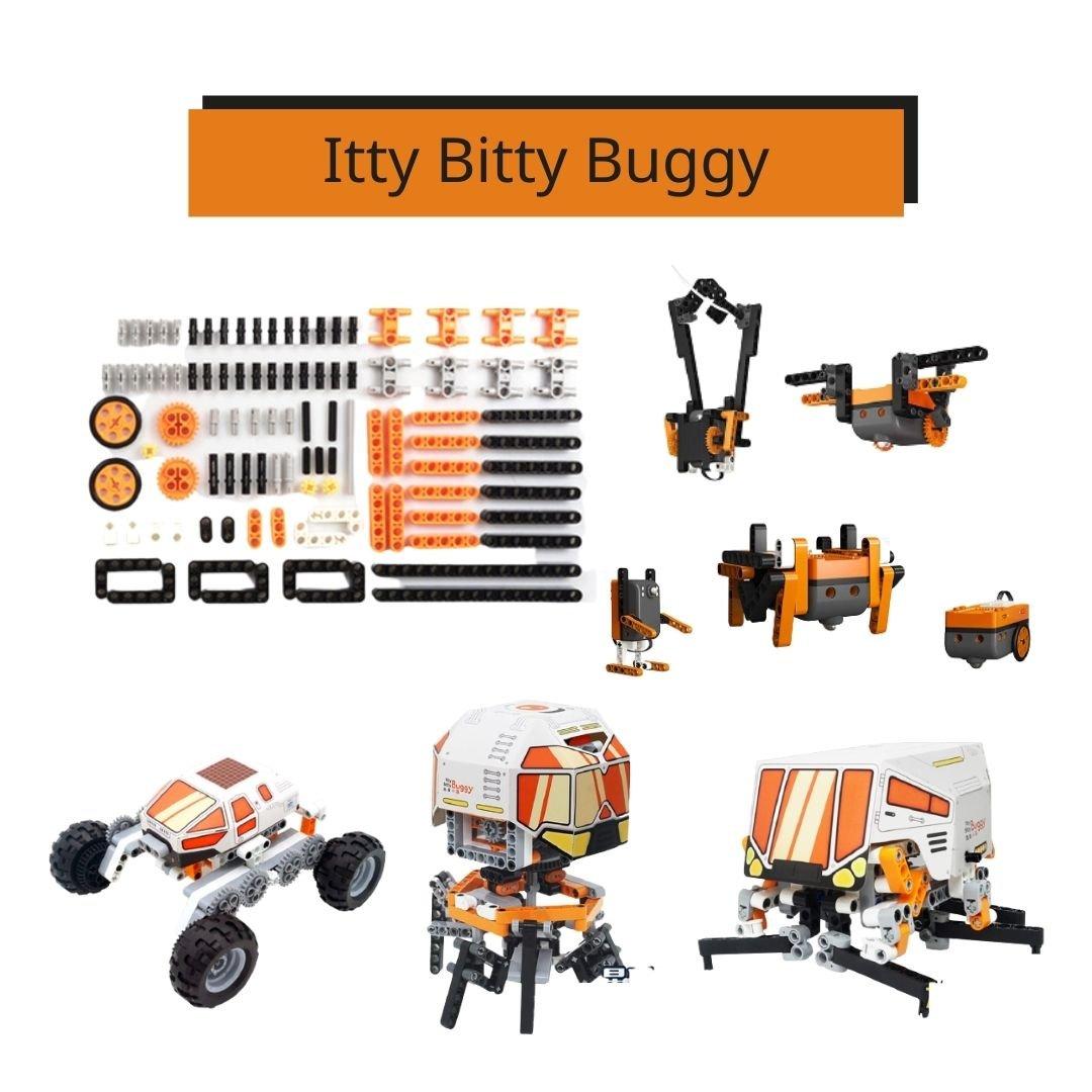 套組內容 1.Itty Bitty Buggy標準合組 2.創意擴充包 3.星球探險車 4.星球補給車 5.星球登陸艙 關於Itty Bitty Buggy Itty Bitty Buggy是美國M