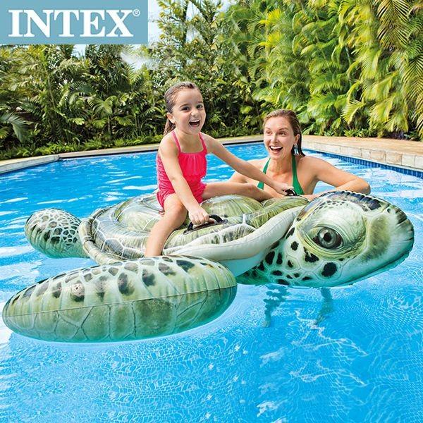 INTEX 大海龜戲水浮排(57555)+INTEX 110V電動幫浦-水藍色(58639)