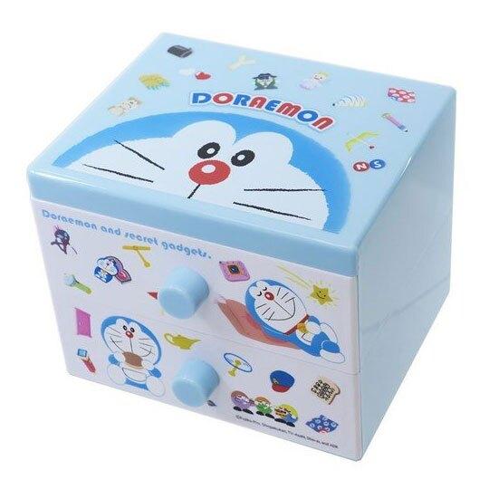 〔小禮堂〕哆啦A夢 桌上型塑膠方形雙抽收納盒《藍白.道具》透明抽屜盒。居家,家具與寢飾人氣店家小禮堂-樂天旗艦店的❤超商取貨區❤有最棒的商品。快到日本NO.1的Rakuten樂天市場的安全環境中盡情網