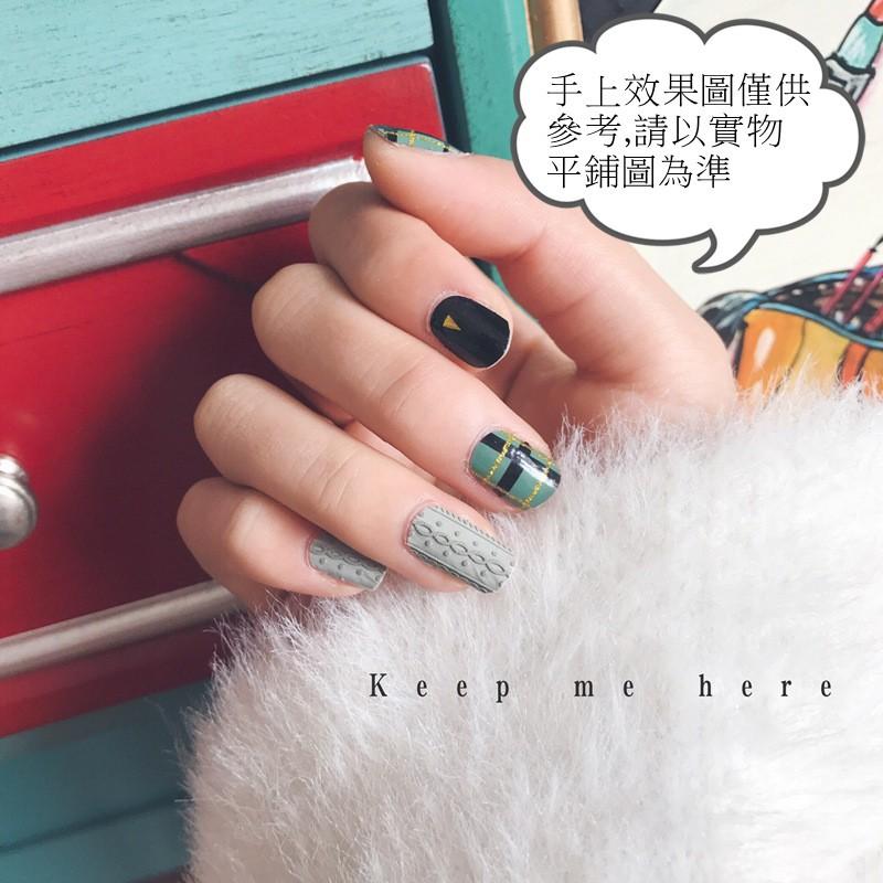 【現貨】FH-004 高質量美甲灰綠毛衣雕花20貼甲油膜防水貼紙