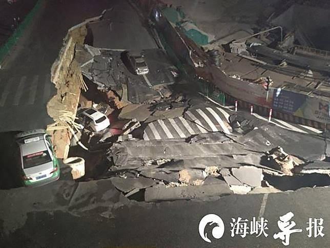 Drivers and passengers have lucky escape after hole swallows cars in southeast China