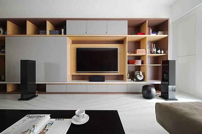 7. 幾何收納電視牆