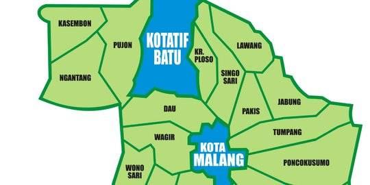Peta Malang Raya. ©2020 Merdeka.com/cakmaryono.com