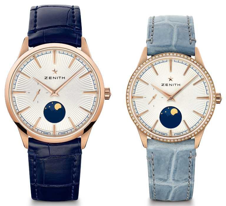 ZENITH「ELITE系列」月相對錶,18K玫瑰金錶殼╱(左)510,900元;(右)446,700元。(圖╱ZENITH提供)