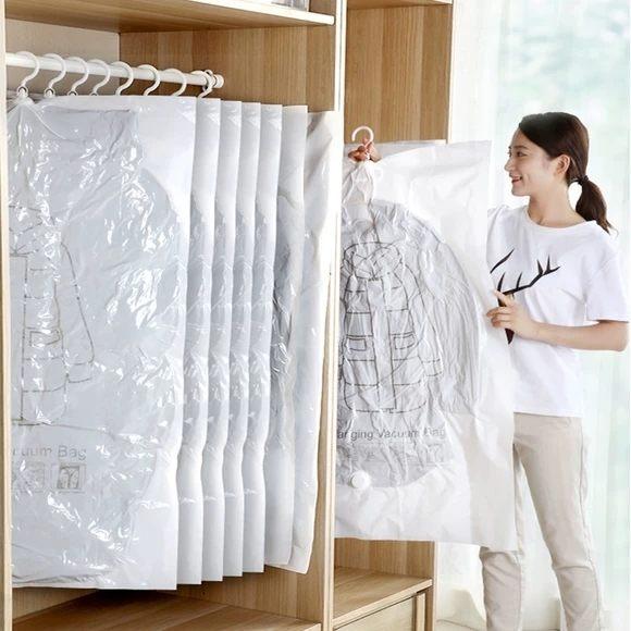 羽絨服收納袋掛式真空壓縮袋大衣壓縮防潮真空袋衣服家用衣柜掛衣 任選一件享八折