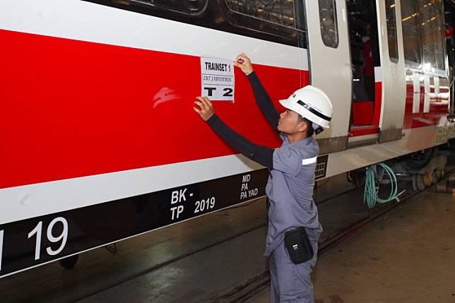 An LRT Jabodebek train made by state-owned train manufacturer PT Industri Kerata Api (Inka)