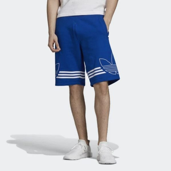 ISNEAKERS ADIDAS originals 三葉草 藍色短褲 棉褲 運動休閒 復古 男款 EJ8791
