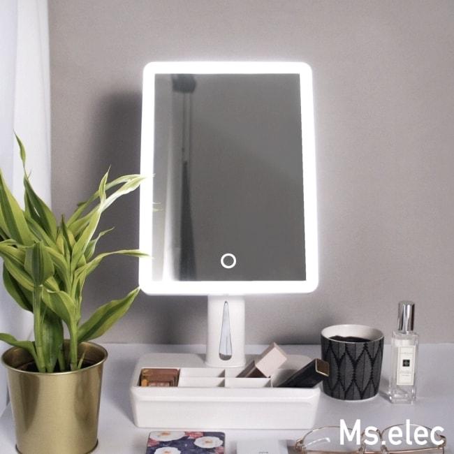 LED桌上化妝鏡推薦4. Ms.elec米嬉樂 LED美肌收納化妝鏡