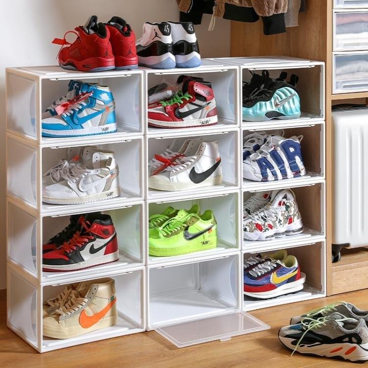 aj球鞋收納透明鞋盒防氧化收納盒鞋櫃抽屜式鞋牆鞋塑料鞋子省空間 雙十二全館85折