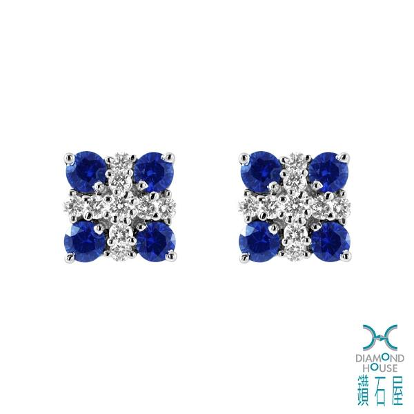 藍寶重量:87分(一對) 小鑽重量:32分 貴金屬:白K金