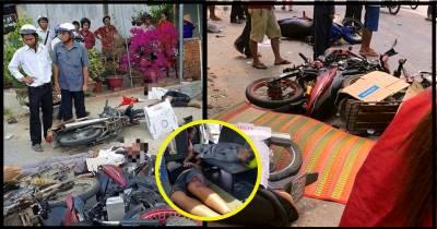 Long An: Kinh hoàng xe tải tông và kéo lê loạt xe máy đi lễ nhà thờ, 6 người thương vong la liệt