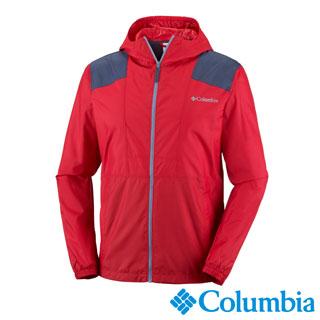 Columbia哥倫比亞 男款-防潑水風衣外套-紅色 UKE39720RD