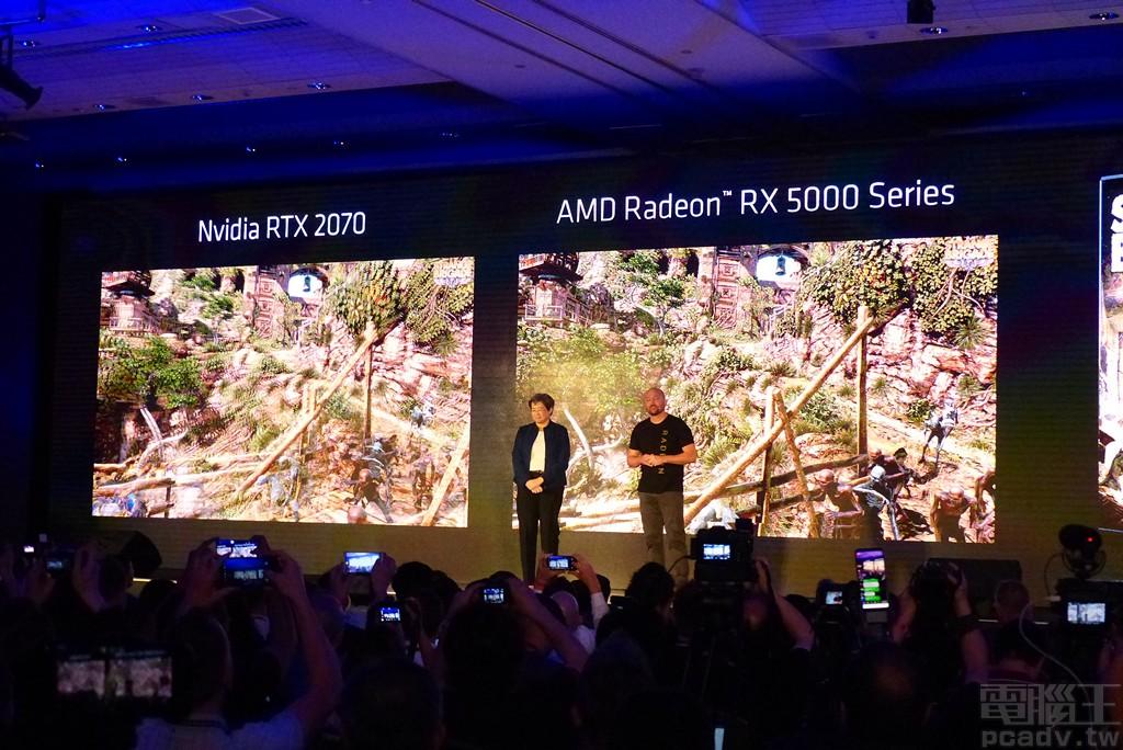 ▲ Radeon RX 5000 系列的對手設定在 NVIDIA GeForce RTX 2070,目前透過 Strange Brigade「異國探險隊」遊戲測試,大約可多出 10% 效能(GeForce RTX 2070:101FPS、Radeon RX 5000 series:111FPS)。