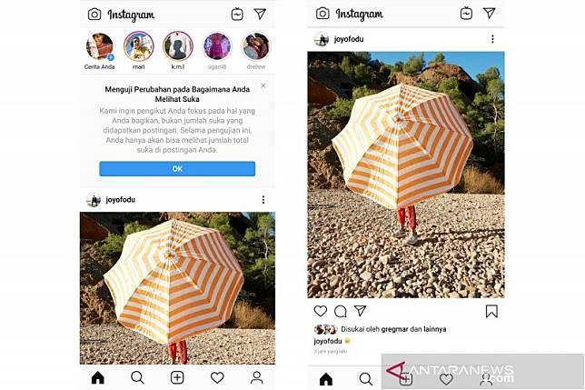 Instagram mulai uji coba sembunyikan