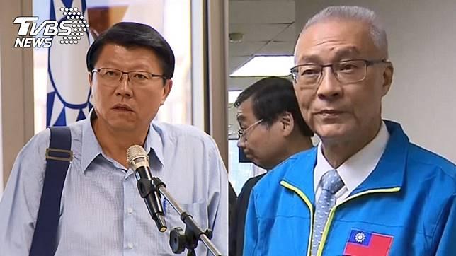 台南市黨部主委謝龍介(左)、黨主席吳敦義(右)。圖/TVBS資料畫面