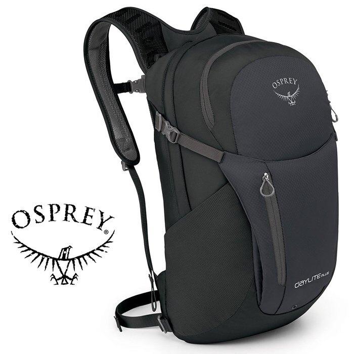 【【蘋果戶外】】Osprey Daylite Plus 黑 【20L】超輕多功能隨身背包 攻頂包 附爆音哨 多孔式背負系統 可容15吋筆電 輕便自行車日用包