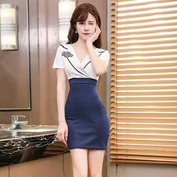 ol洋裝v領低胸包臀性感連身裙夏季顯瘦裙子氣質OL短裙WL2001【俏美人大尺碼】