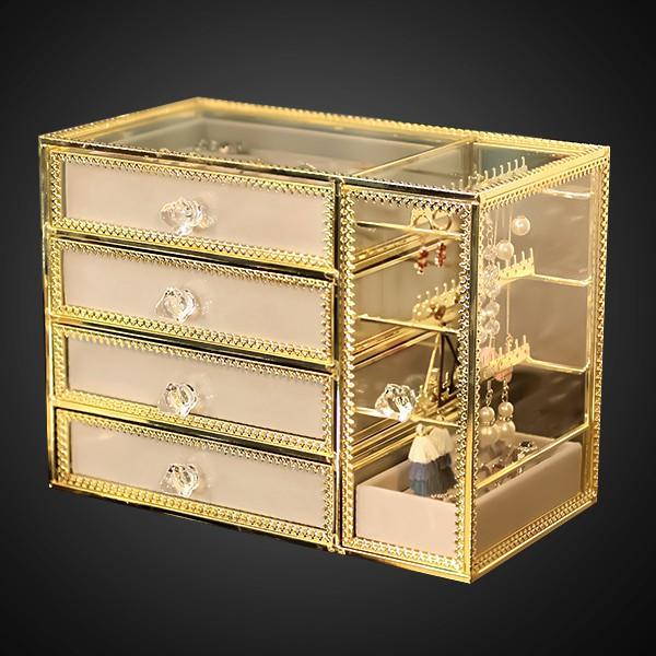 5Cgo歐式玻璃透明首飾盒多功能戒指項鏈耳環飾品盒公主抽屜耳墜收納盒銅條包邊透明防塵輕奢精緻581118849028