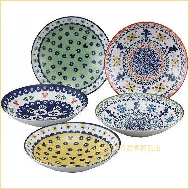 asdfkitty可愛家☆迪士尼米奇東歐風圓型陶瓷盤5入組-3197-05-裝點心.水果.沙拉都好用-日本製