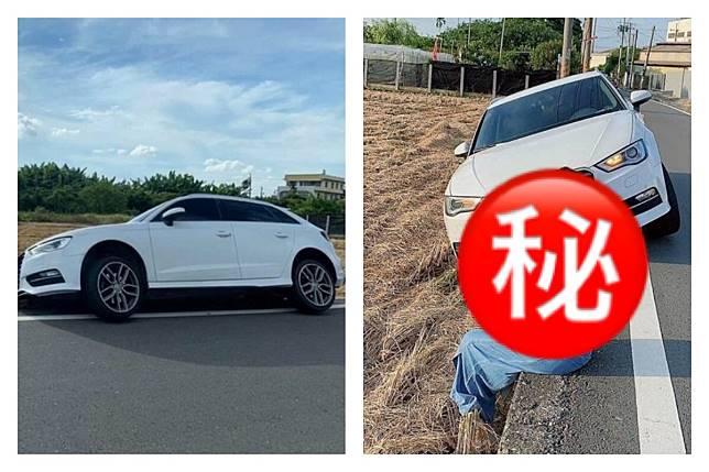 ▲有一名女網友在網路上 PO 出兩張相片,原來是因為她開車不小心為了閃躲行人而「犁田」。(圖/翻攝自爆廢公社二館)