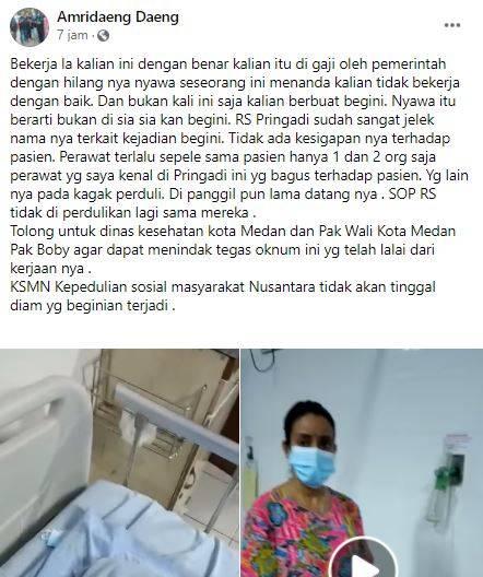 Perawat di RS Pringadi Medan disebut keluarga pasien beri tabung oksigen kosong.