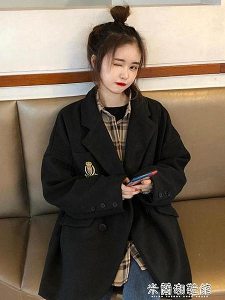 秋裝新款中長款寬松學院風氣質西裝領呢子大衣女長袖毛呢外套