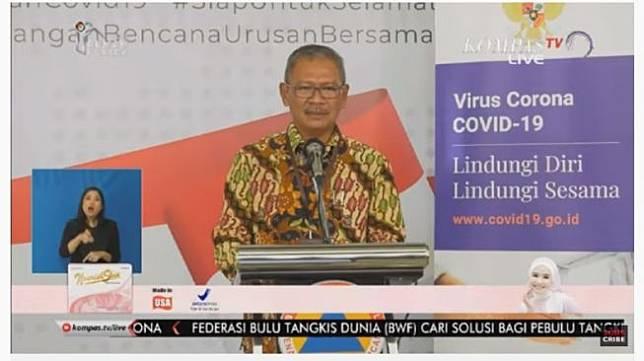 Ahmad Yurianto saat konferensi pers Jumat (27/3/2020). (Tangkapan layar YouTube/KompasTV)