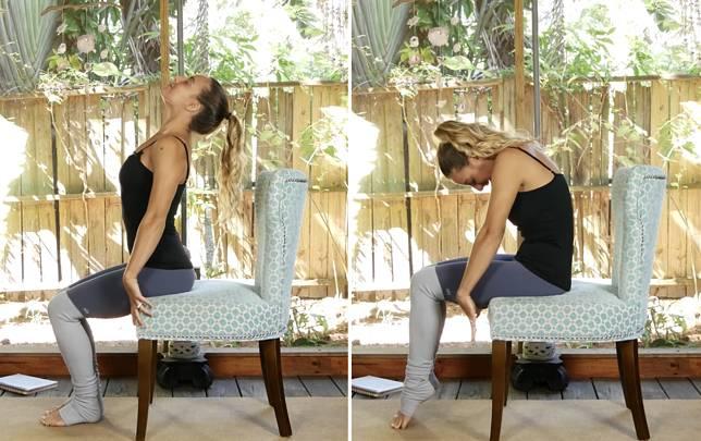 貓牛式除了在瑜伽墊上做,也可以坐著練習。