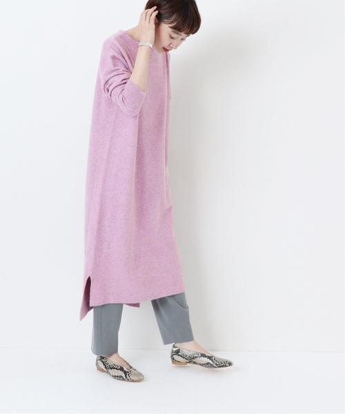 紫色側邊開叉船領針織連身裙