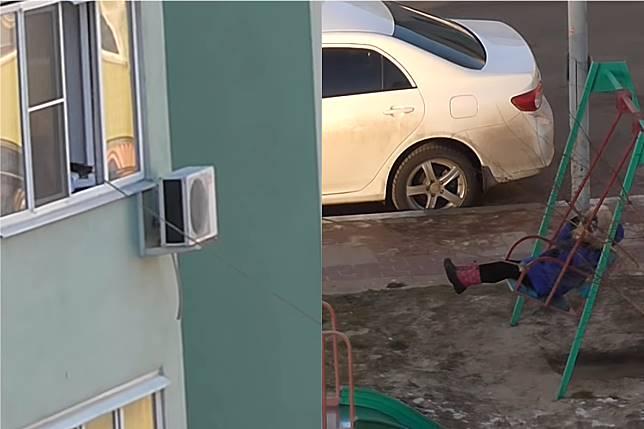 ▲俄羅斯媽媽在 4 樓幫兒子推鞦韆。(合成圖/翻攝 ViralHog Youtube )