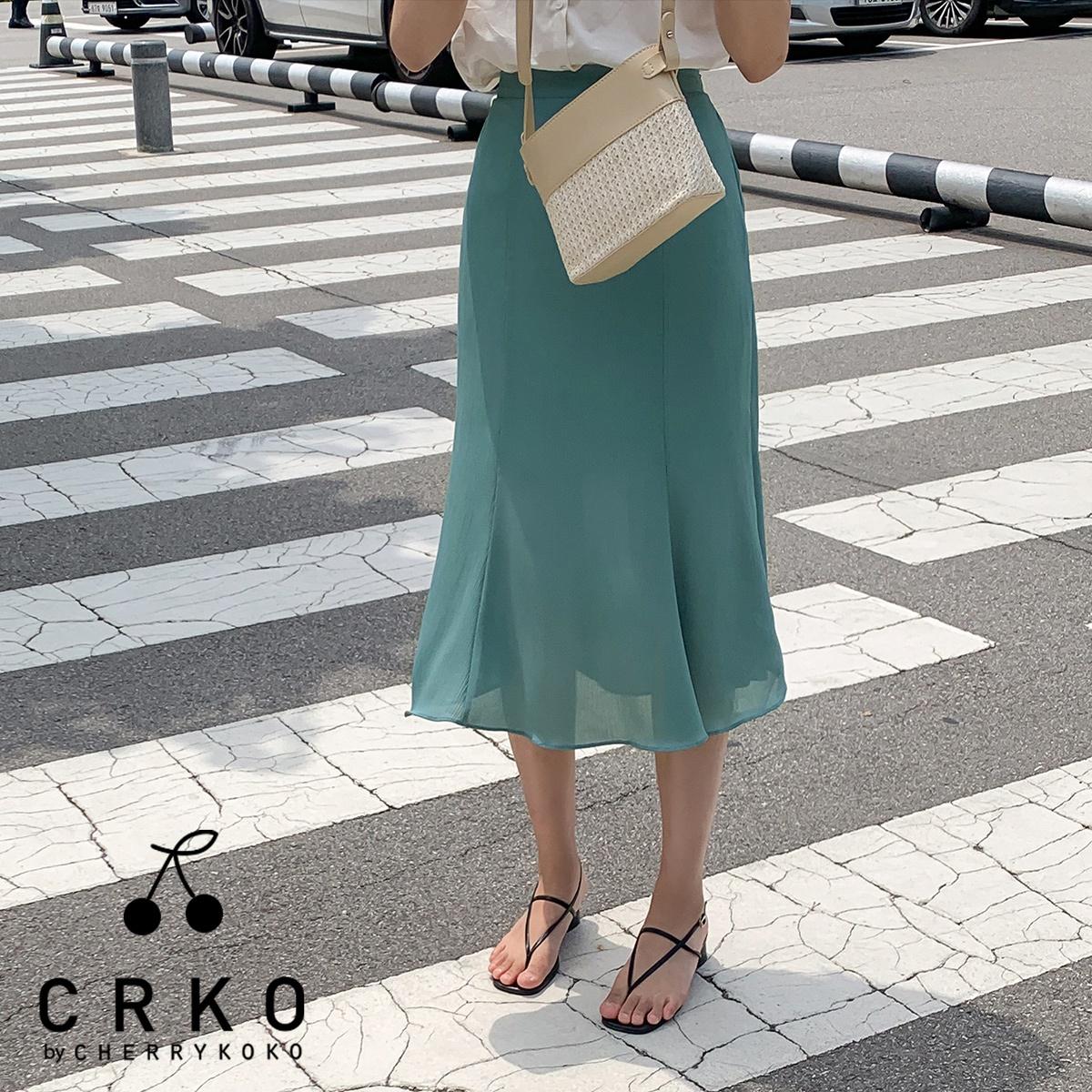 [CHERRYKOKO官方旗艦店]後腰鬆緊微傘擺雪紡長裙