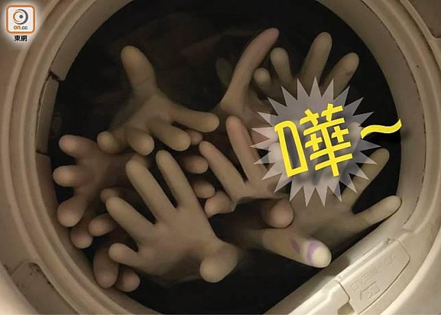 洗衣機洗手套,就洗出一個搞笑話題。(互聯網)