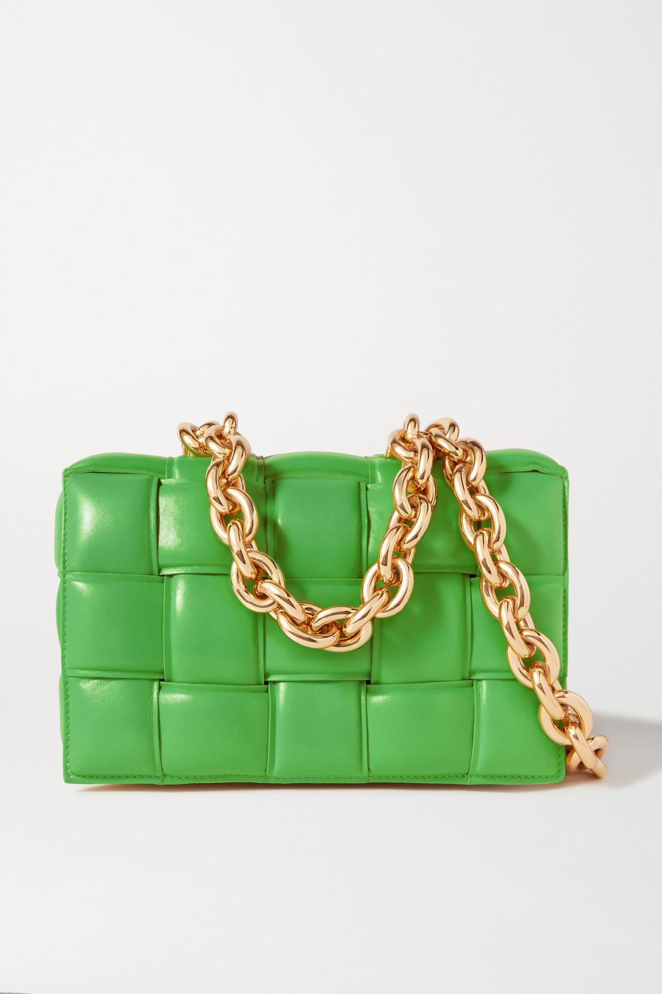 BOTTEGA VENETA - Cassette Chain-embellished Padded Intrecciato Leather Shoulder Bag - Green - one si