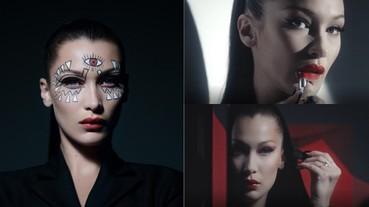 超模 Bella 在短片中展現 3 種「詭譎妝容」!小編:光第一幕紅唇就超有感...