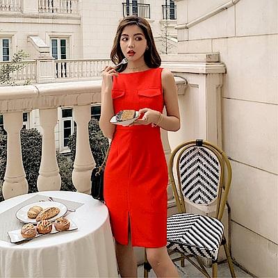 DABI 韓國風名媛修身顯瘦假口袋氣質無袖洋裝