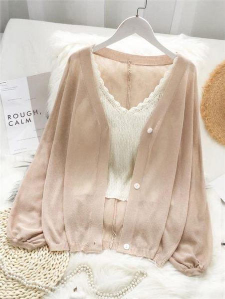 雪紡開衫夏季短外搭很仙薄款冰絲小外套防曬衣空調衫針織開衫配裙子寬鬆女可卡衣櫃