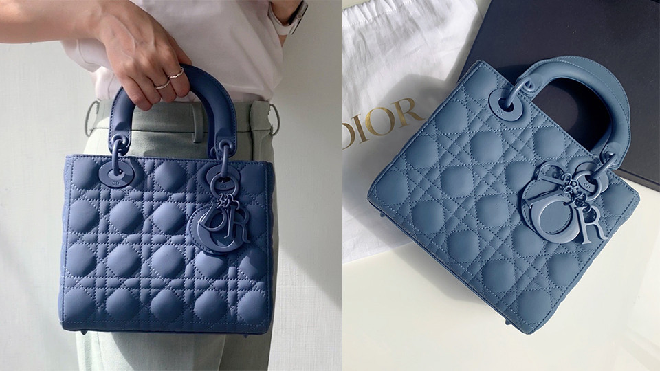 「迷霧靛藍」包包推薦:LADY DIOR 丹寧藍色超啞光中型手袋,NT$160,000