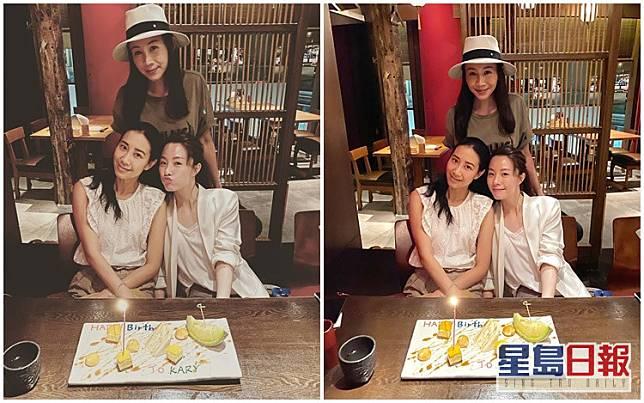 鄧麗欣和區文詩分別貼出跟吳雨霏慶祝的相片。