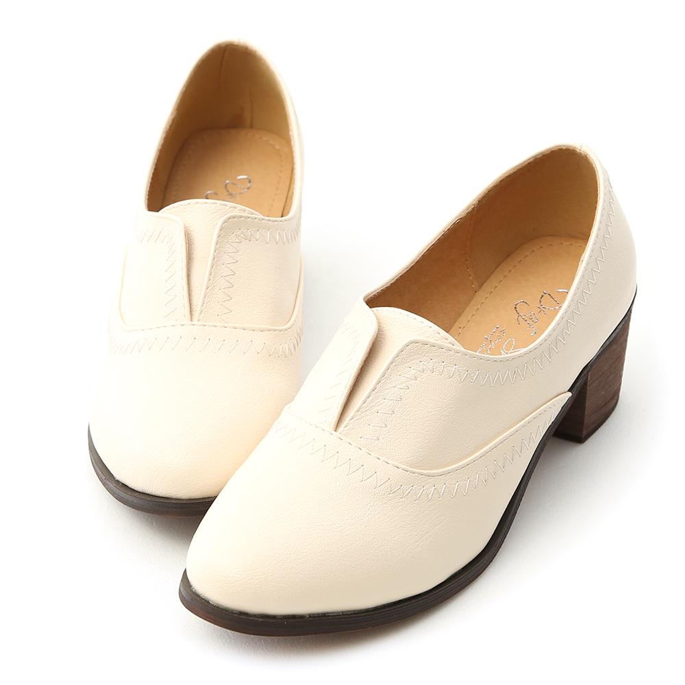 D+AF 英倫時尚.拷克線無綁帶中跟牛津鞋