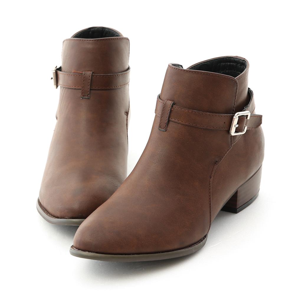 D+AF 獨特焦點.質感細釦環低跟短靴