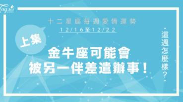 【12/16-12/22】十二星座每週愛情運勢 (上集) ~金牛座可能會被另一半差遣辦事!