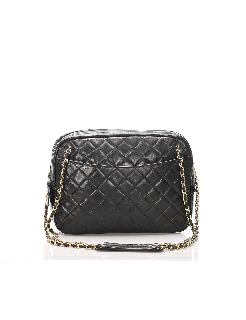 This shoulder bag features a lambskin leather body, a front exterior slip pocket, a gold-tone chain