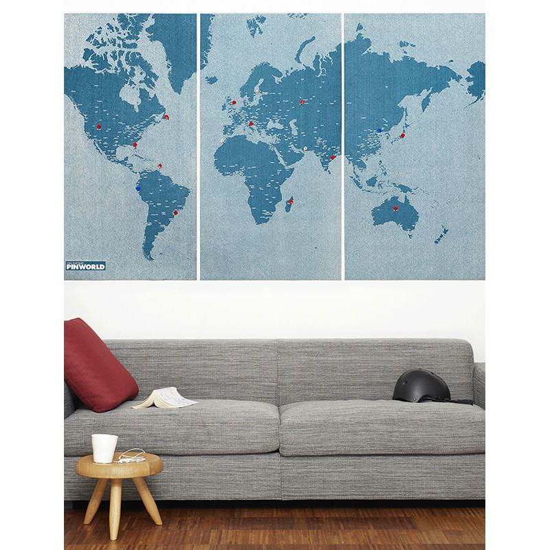 [折扣碼現折] 旅人羊毛氈世界地圖 XL 海洋藍