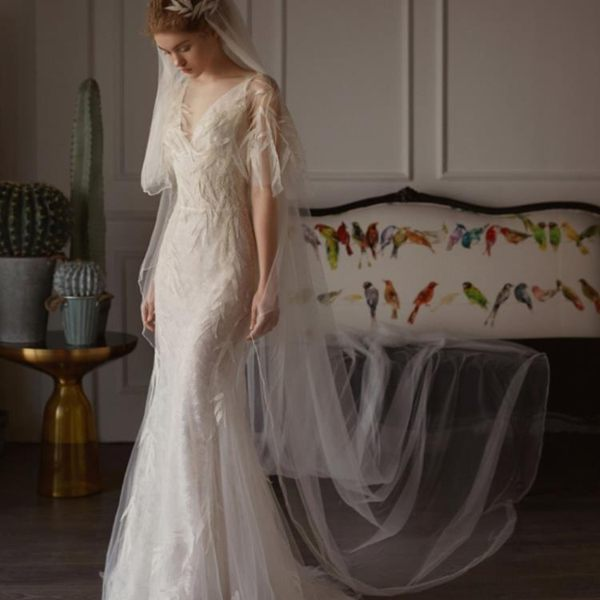 婚紗禮服 禮服洋裝 森系輕婚紗小拖尾魚尾簡約顯瘦公主花朵出門紗旅拍 迪澳安娜