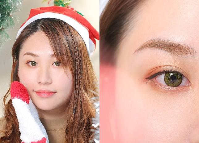 同樣以淺啡色打底,但眼尾及下眼瞼卻分別換上梅紅色眼影及紅色閃粉,感覺即時變得活力充沛又有節日氣氛。(胡振文攝)