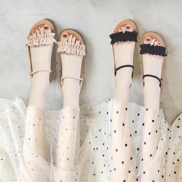 平底涼鞋 涼鞋女夏季平底新款百搭學生仙女大碼ins潮羅馬溫柔綁帶鞋子 曼慕衣櫃