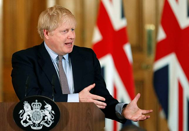 Britain's Prime Minister Boris Johnson, speaks during a news conference on the novel coronavirus, in London, Britain March 3, 2020. British Prime Minister Boris Johnson was taken to hospital on Sunday after failing to shake off coronavirus symptoms